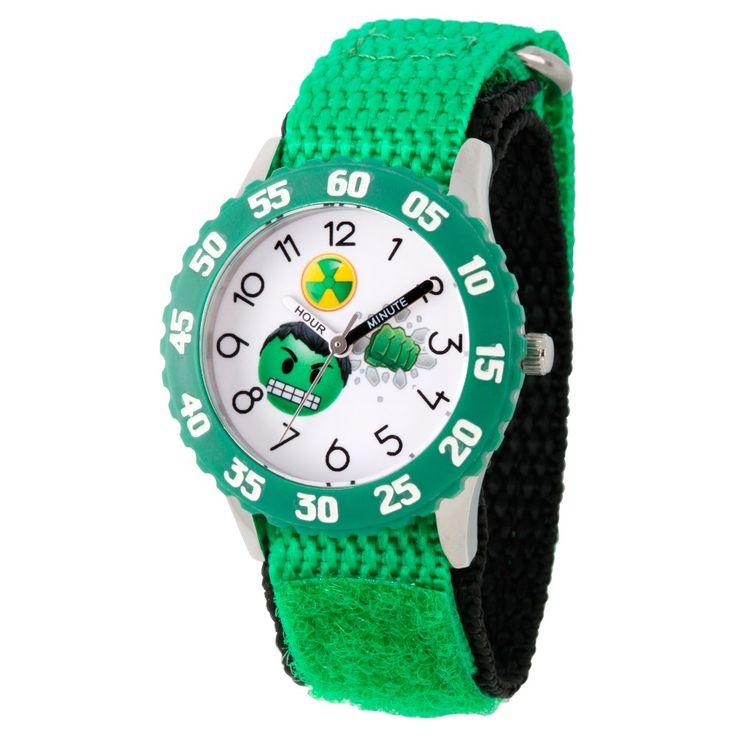 Boys' Marvel Emoji Hulk Stainless Steel Time Teacher Watch - Green