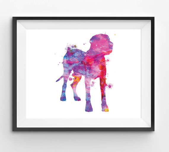 Colorful Great Dane Watercolor Print Dog Print Dog Digital