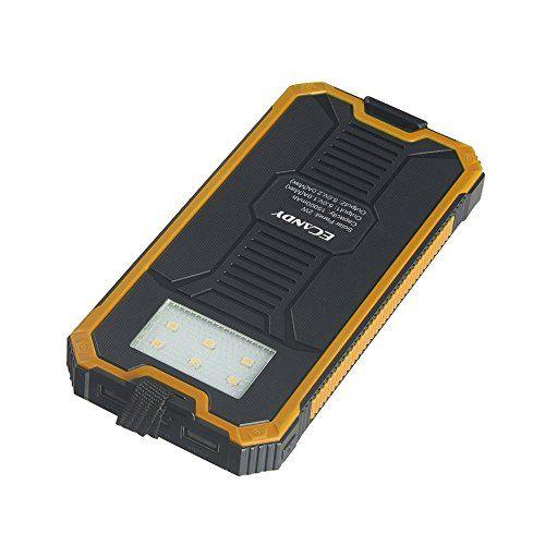 Ecandy 15000 mAh de copia de seguridad de batería solar del banco de la energía de doble puerto USB, con linterna LED cargador solar 8 para el iPhone Samsung Galaxy S6, S6, Borde S5, S4, S3 de la tableta del teléfono celular. (15000mAh amarillo) - http://cargadorespara.com/comprar/solares/ecandy-15000-mah-de-copia-de-seguridad-de-bateria-solar-del-banco-de-la-energia-de-doble-puerto-usb-con-linterna-led-cargador-solar-8-para-el-iphone-samsung-galaxy-s6-s6-borde-s5-s4-s3-de