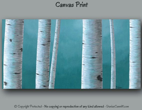 Birch tree painting - Canvas art print, Bedroom wall art, Large Wide artwork, Long landscape print, Gray Blue Teal home decor, Office decor