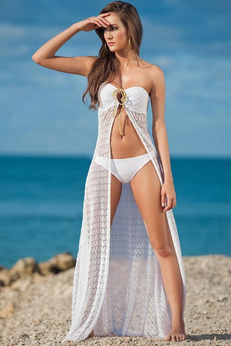 Bandeau-Strandkleid Weiß