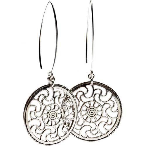 "BURNING SUN EARRINGS Burning Sun Earrings Material: sterling silver; length 3"", diameter 1-3/8"" (7.4 x 3.3 cm) Riga, Latvia"