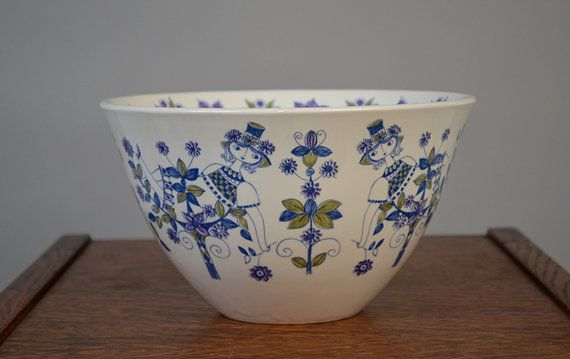 Vintage Figgjo Lotte Blue TuriDesign Salad by ThePyrexPrincess, $70.00