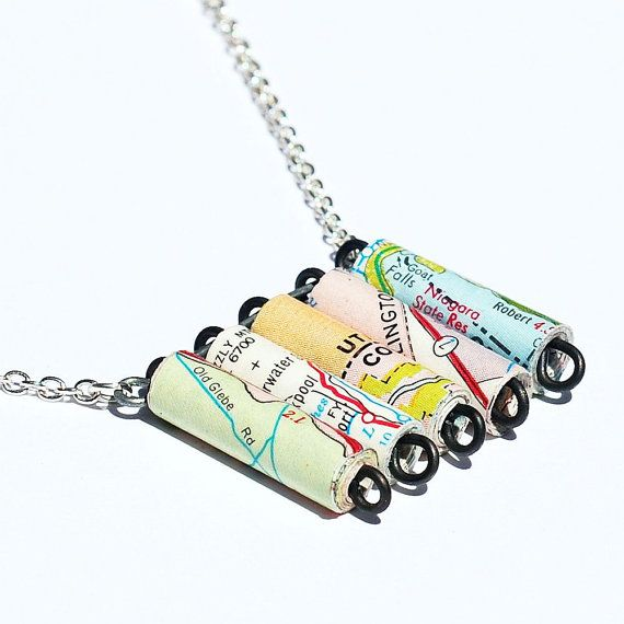 U.S. Map Necklace U.S. Road Atlas Map Paper Bead by Tanith on Etsy