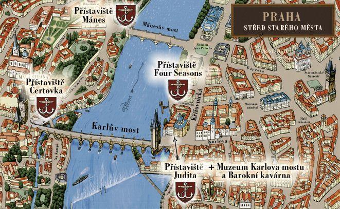 Mapa přístavišť v centru Prahy | Pražské Benátky