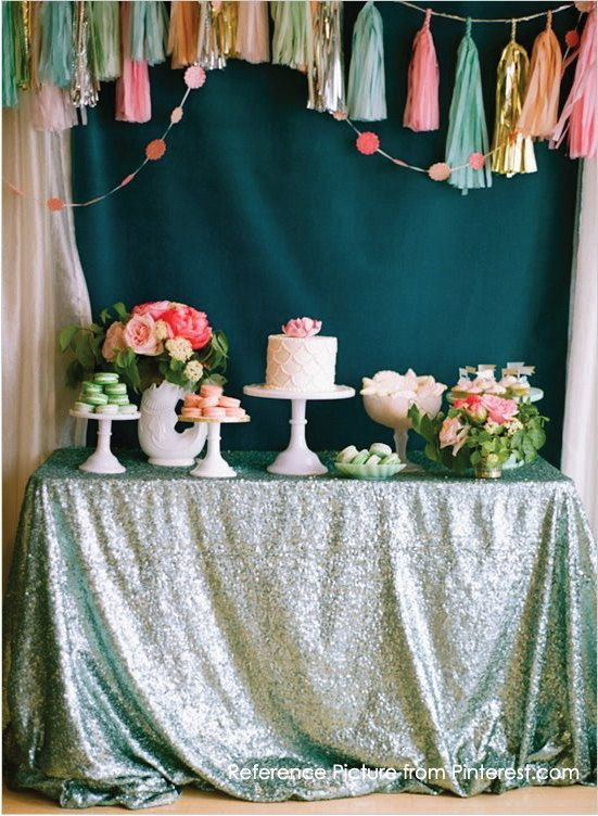 Summer Colors Sequin linen Tablecloth par ArcadiaWeddingDesign