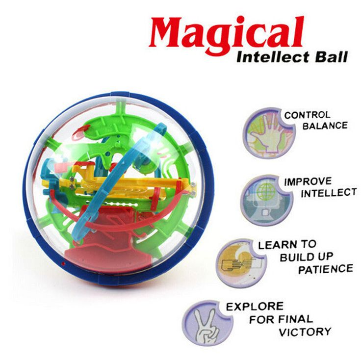 100 Steps 3D Magic Intellect Maze Ball For Children Balance Logic Ability Puzzle Game Toys Educational Training Tools