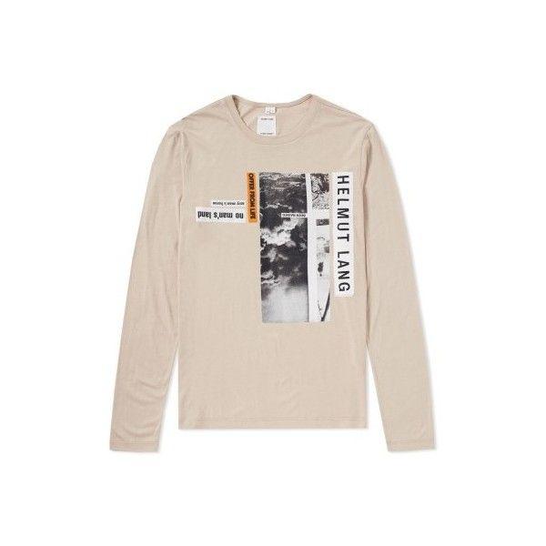 Helmut Lang x Travis Scott Long Sleeve Debris Print Tee ($545) ❤ liked on Polyvore featuring tops, t-shirts, patterned tops, long sleeve t shirts, helmut lang t shirt, long sleeve tees and pink t shirt