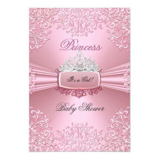 Baby Shower Girl Pink Princess Tiara Lace SML Card