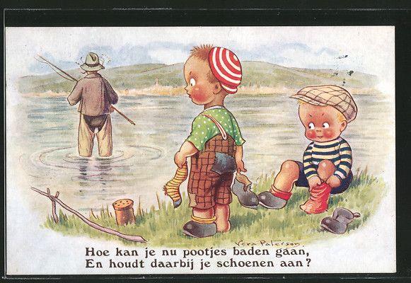 Künstler-AK sign. Vera Paterson: Kinder sehen einen Angler in Wathose 0