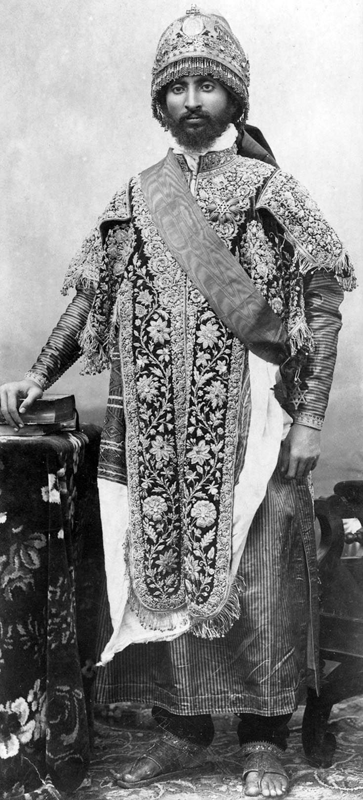 Africa | Portrait of Ras Tafari, the Regent of Abyssinia (and later the Emperor Haile Selassie), standing, dressed in ceremonial robes and wearing a crown.  Addis Ababa, Ethiopia.  1971 | ©Wilfred Gilbert Thesiger / Pitt River Museum