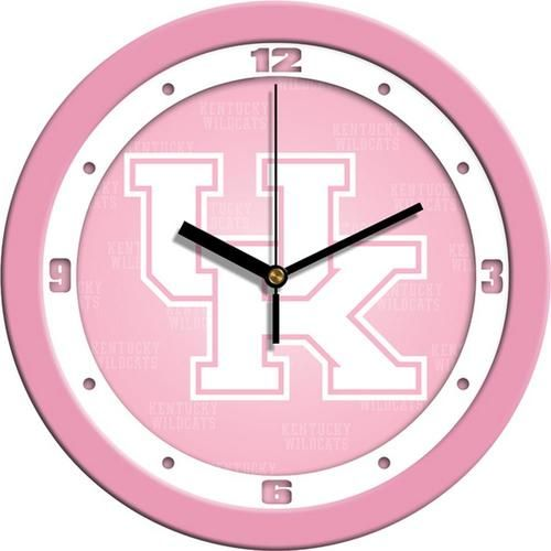 Kentucky Wildcats UK Clock Pastel Pink Glass Wall Clock