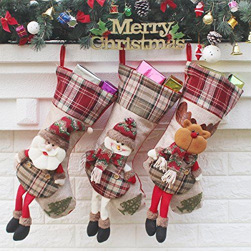 Christmas Stocking SMTHOME Set of 3 Santa Snowman Reindeer Xmas Character 3D Plush with Faux Fur Cuff Christmas Decorations and Party Accessory (New Style)