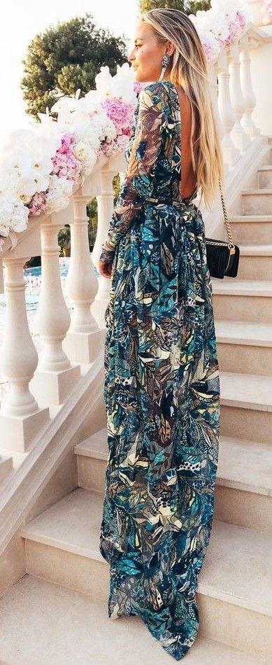 #summer #boho #chic #style   Printed Maxi Dress