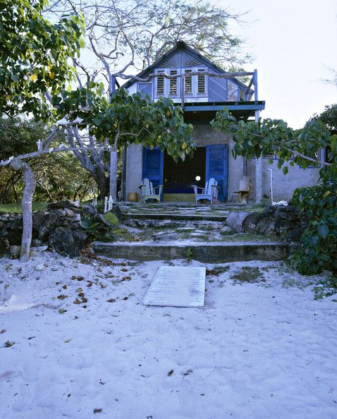 Small, two story beach house. Love the blue