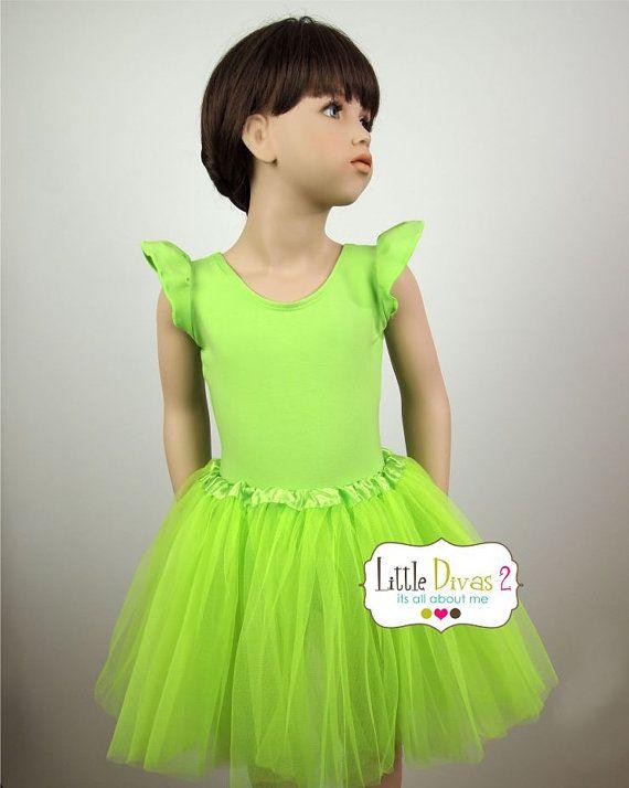 Lime Green Leotard Child Lime Green FLUTTER/RUFFLE by LittleDivas2