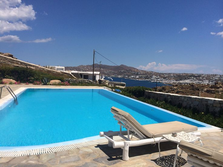 The Studio can accomodate up to 6 persons in 2 bedrooms (1double and 2single) and 1 couch/bed(2 sleeps). It has a shared swimming pool. Starts from 290 euro per day http://www.travelingtogreece.com/accomodation/mykonos-villas/the-studio