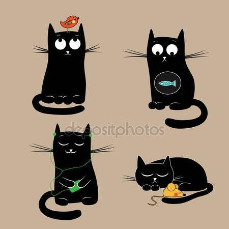Śmieszne koty. Ilustracja wektorowa — Ilustracja stockowa #9082549