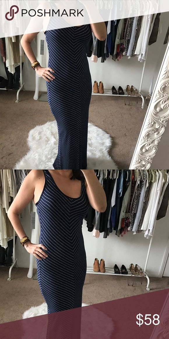 Navy Striped Nautical Maxi Dress Navy Striped Nautical Maxi Dress.  Very soft material, slimming stripes.  Size medium, but runs on smaller size.  Feels more like a small. Jo & Co Dresses Maxi