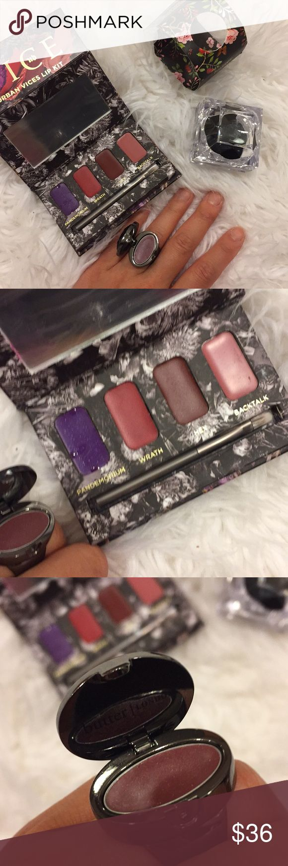 Urban decay, butter London lip bundle Both are new. Never used in perfect new condition. Urban decay vice lipstick palette with 4 lipsticks. Butter London lip gloss ring in size 7. Comes with ring box. No trades Urban Decay Makeup Lipstick