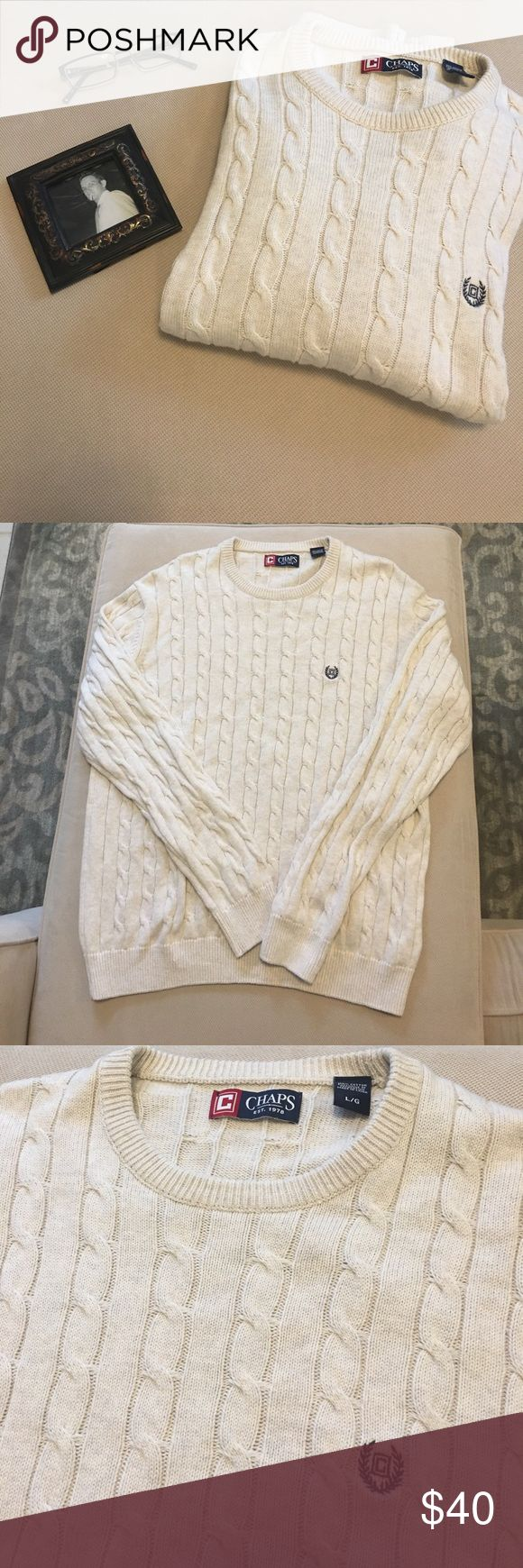 🔅Chaps Oatmeal Heather Cable Knit Crew Sweater Impeccable EUC! Worn once and it's been sitting in the closet. Perfect to throw over the blue flannel shirt I'm also selling in my closet. The sweater is more thin which makes it ready to wear in any season. Chaps Sweaters Crewneck