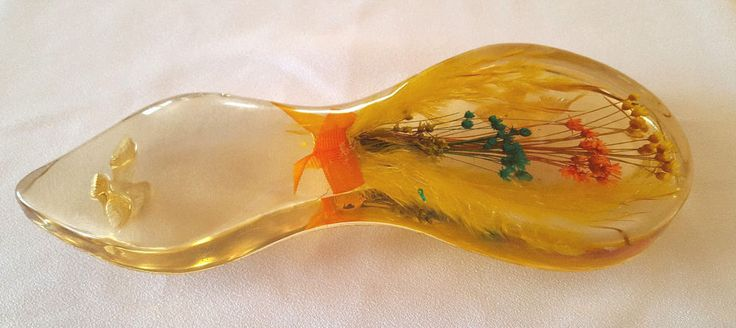 "Vintage Acrylic Spoon Rest Caddy 60s Retro Lucite Straw Flower Molded Birds 9"" #spoonrest #strawflower #retro #midcentury"