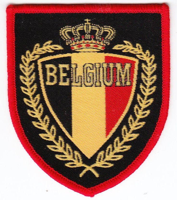 Aufnäher + Fußball + BELGIUM + Belgien + Wappen Signet Krone + Sammler