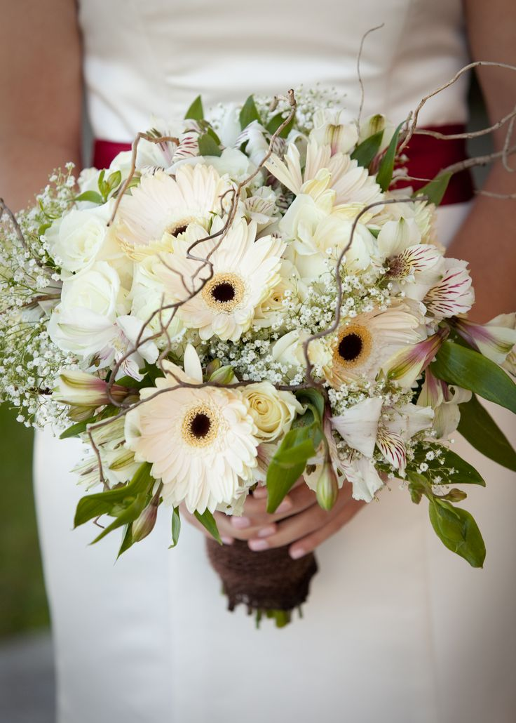 White/Cream Bride Bouquet with Roses, Alstroemeria, Gerbera Daisies, baby's breath and curly willow branches by www.essenceofevents.com   photo credit: Boston Harbor Photography