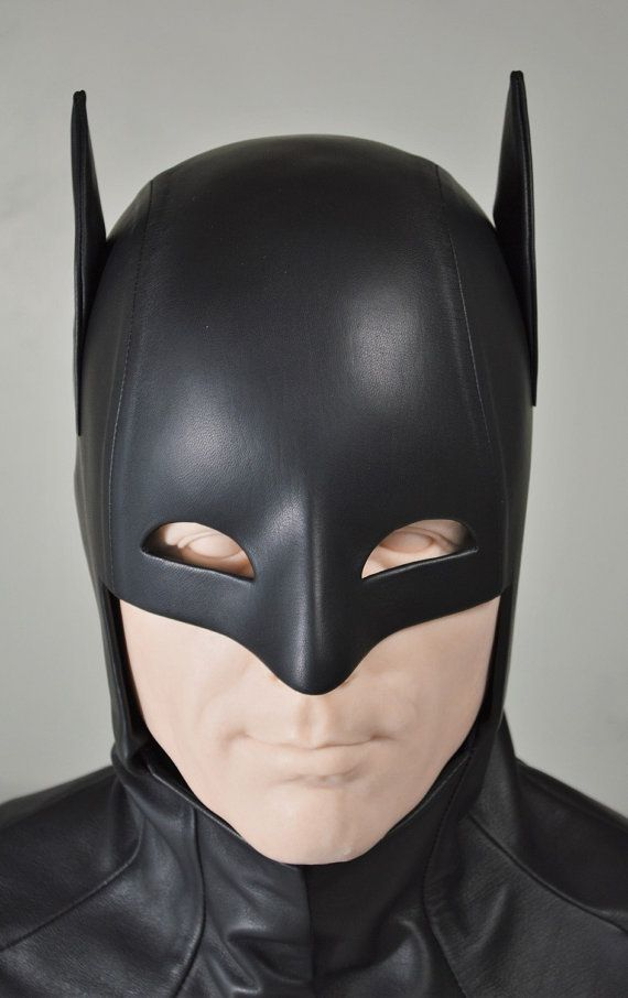 $650.00 WS2 original design of the Batman Cowl in Black Leather