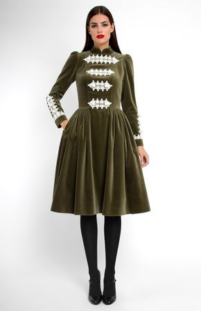 Long-sleeve cotton velvet dress with cotton lace finish. Mandarin collar. Hidden back zip closure. Side seam pockets.