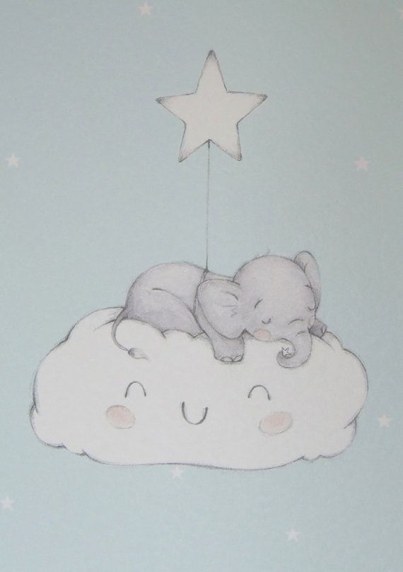 Blue Baby Elephant on Cloud Nursery Wall by LittleCupCreations
