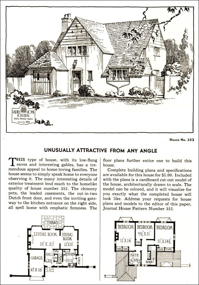 Design No. 352  1935 Ladies Home Journal House Pattern Catalog