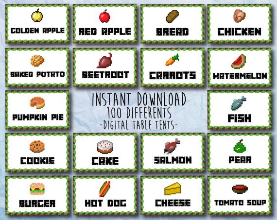 Minecraft Food Tent Cards For Your Party Instant