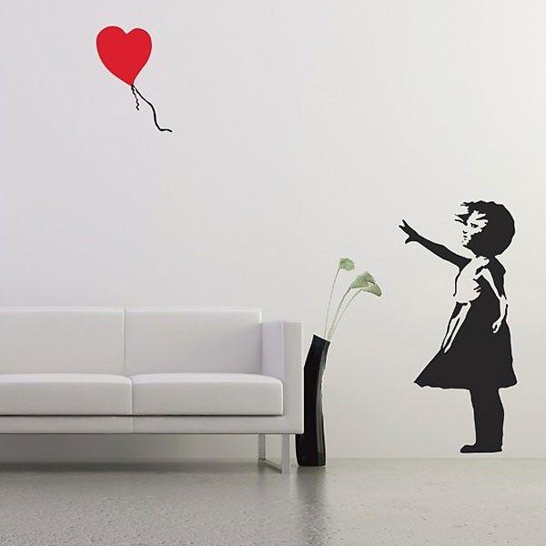 Banksy Balloon Girl Wall Sticker - Medium