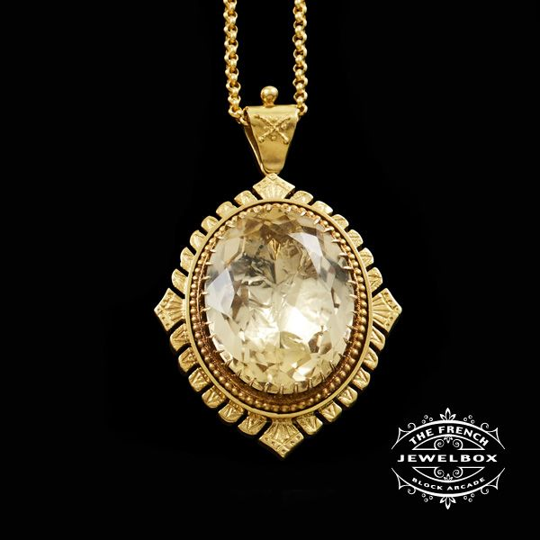 Magnificent Citrine Pendant  Citrine is thought to be a gift from the sun with amazing healing properties, this grand Victorian style pendant with a belcher link chain is 9ct yellow gold with a whopping oval facetted citrine of 33.11ct, would warm any chest this sits upon.
