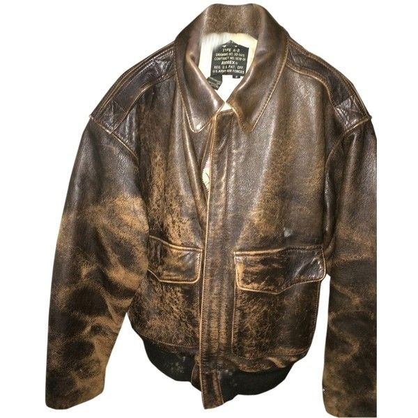 Pre-owned Avirex Distressed Leather Bomber Brown Bomber Jacket ($309) ❤ liked on Polyvore featuring outerwear, jackets, brown bomber, bomber jacket, flight jacket, distressed leather bomber jacket, flight bomber jacket and brown bomber jacket