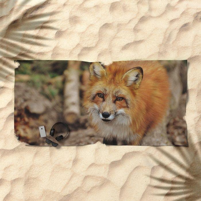 Fox Beach Towel by Mixed Imagery   Society6