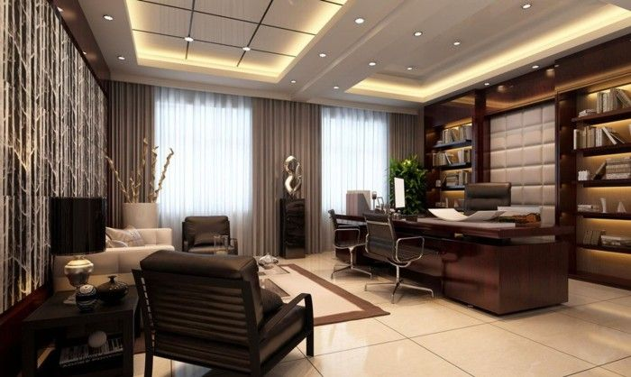 Modern office curtains with brown color and modern design for Office interior design ideas pdf