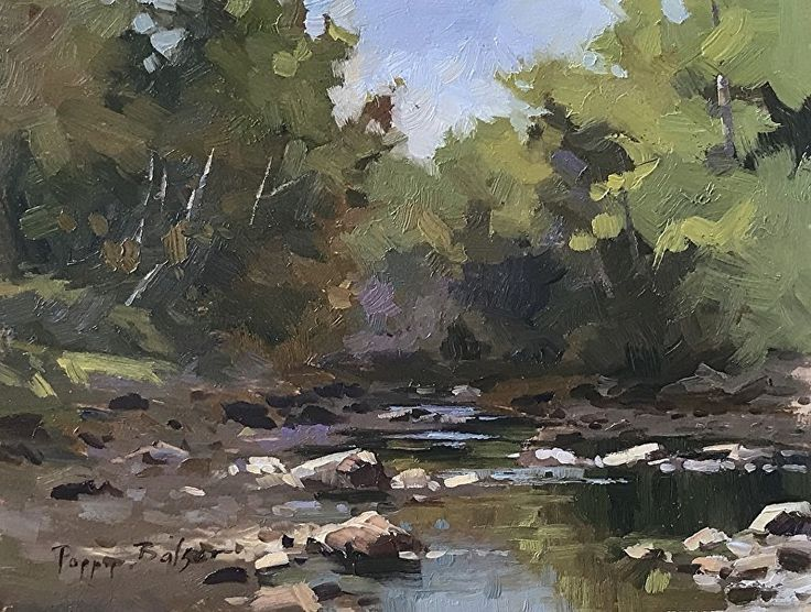 Morning Highlights on the Streambed by Poppy Balser Oil ~ 8 x 10