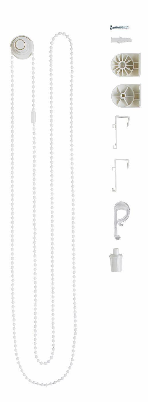 Das praktische Ersatzteil Zubehör-Set von my home für Klemm-Seitenzugrollos hilft Verschleiß vorzubeugen und entstandene Schäden zu reparieren. Die neuen Teile werden dem Rollo hinzugefügt und sorgen wieder für bequemen Bedienkomfort. Zu den Anwendungsfällen zählen die Erneuerung von Zugkette, Aufhängung, Träger und Achse bei Beschädigungen oder Bruch. Die Klemmträger sind geeignet für einen Fl...