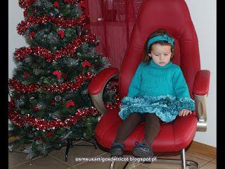 Os meus artigos de tricot (e desabafos de mãe): O vestido da minha filha em tricot (idealizado e f...