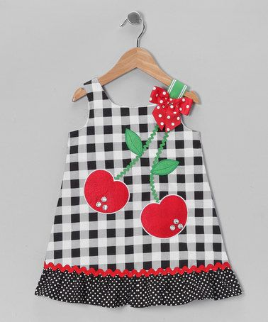 Take a look at this Black & White Cherry Gingham Dress - Infant, Toddler & Girls by Youngland on #zulily today!