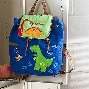 LOVE the dinosaurs on this adorable backpack!! It's the Dino Embroidered Backpack - 11295 - from PMall and it's only $34.95 - that includes free personalization so you can have it embroidered with your little guy's name! (This cute dinosaur design comes in a duffel bag, too!) #Dinosaur