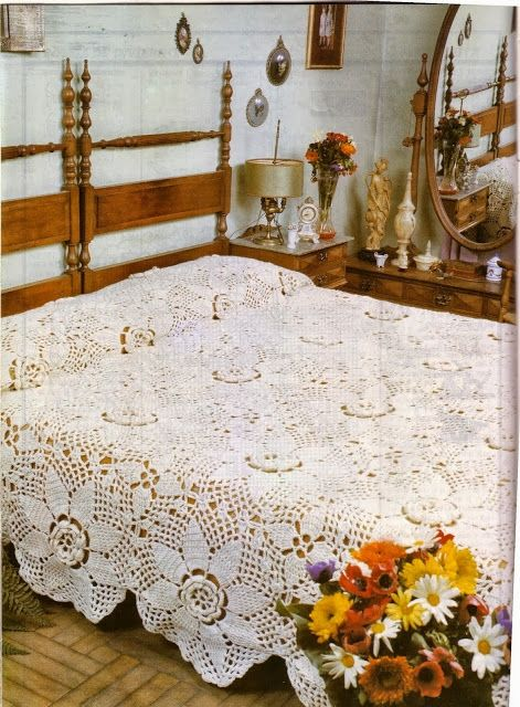 """Daisy"" bedspread ♥LCB-MRS♥ with diagram. Ip"