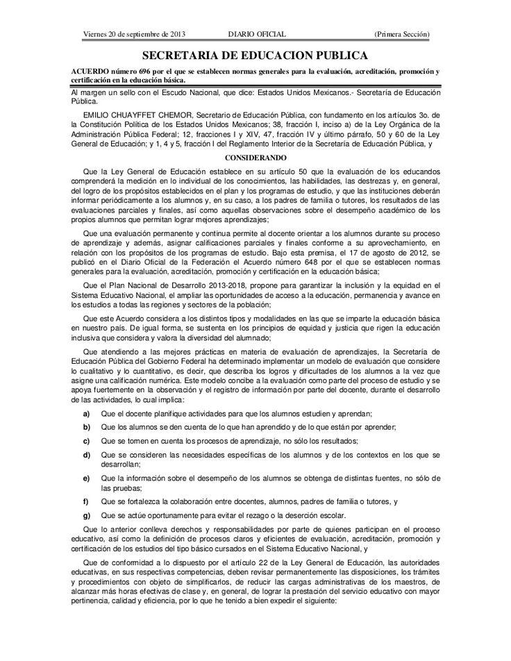 Acuerdo número 696 por el que se establecen normas generales para la evaluación, acreditación, promoción y certificación en la educación básica.