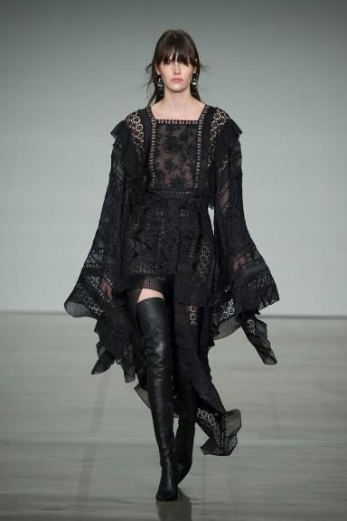 Fall 2017 RTW, The Maples Zimmermann New York Fashion Week NYFW 2017 Australian Fashion designer ready to wear  Maples Boudoir Dress, Stretch Thigh Boot, Oval Hoop Enamel Earring