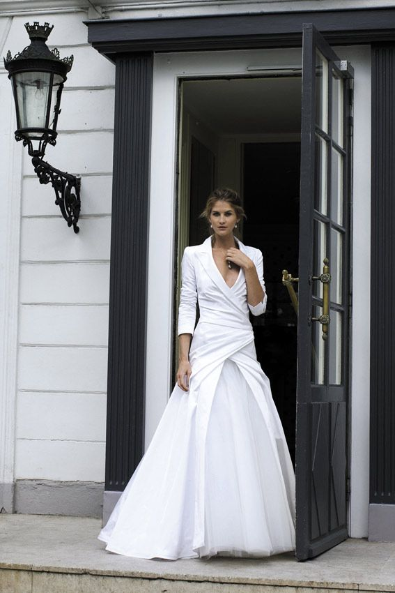 "Cymbeline ""Fun"" white bridal gown, long sleeves, suit jacket top, non-traditional, ball gown skirt"