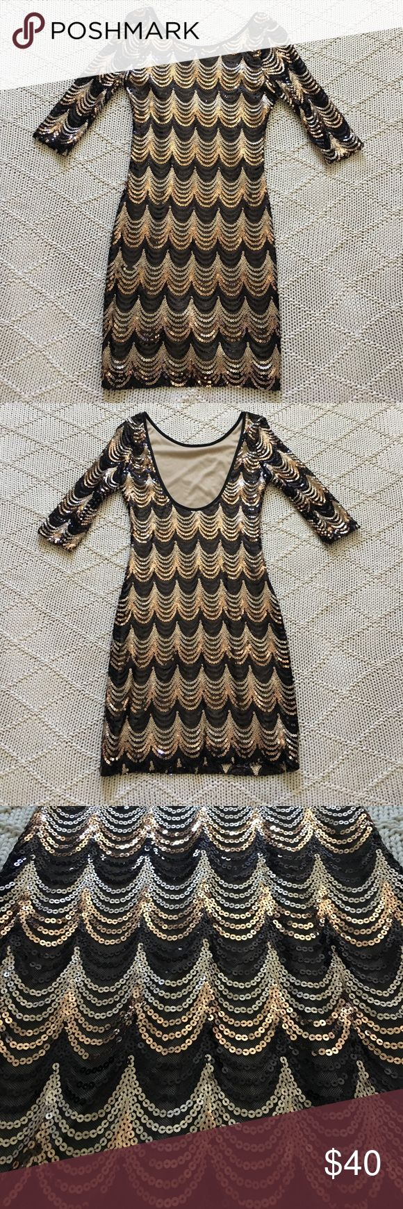 Stunning sequence Great Gatsby inspired dress! Stunning sequence Great Gatsby inspired dress with a low scoop back. Size medium, but I would say it fits like a small. KAITLYN Dresses Mini
