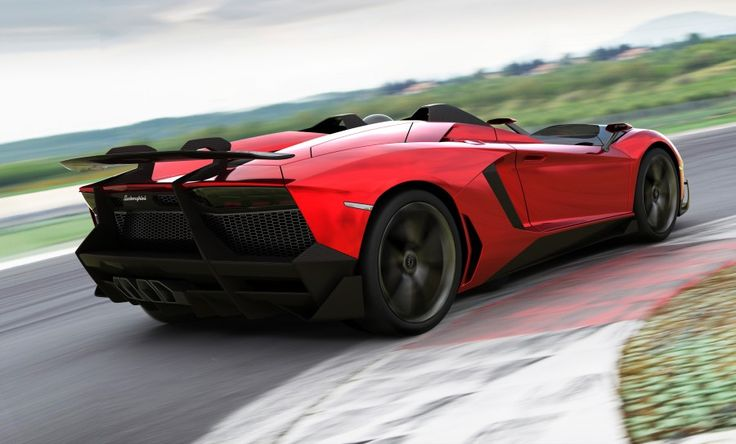 Lamborghini Aventador J with the enormous carbon fiber spoiler supported by the arms