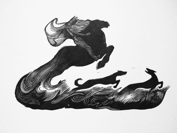 Linocut illustration to H.H. Andersen fairy tale The wild swans by Dmitry Okulich-Kazarin https://www.behance.net/dmitok